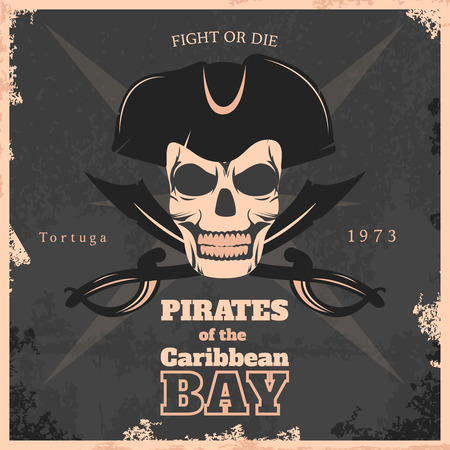 saber tooth: Pirates of carribbean bay vintage poster with smiling skull in center  on black background vector illustration