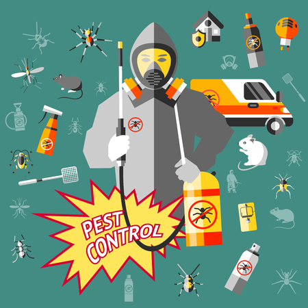 Worker of service for pest control in protective clothes with equipment on dark turquoise background vector illustration Illusztráció