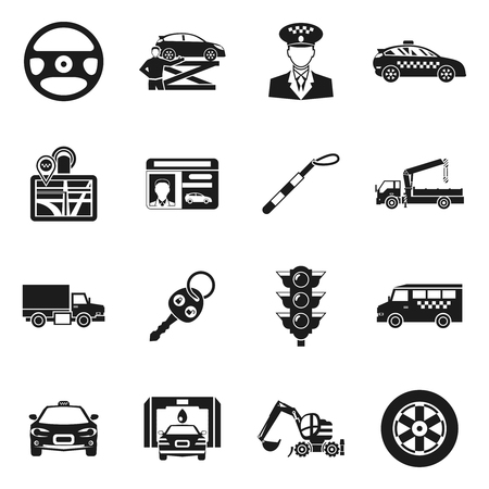 driver license: Driver black white icons set with taxi hoist steering wheel traffic light trucks license isolated vector illustration Illustration