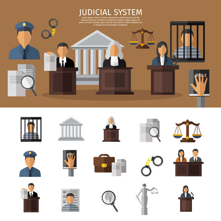 courtroom: Judical system banner with sitting in the courtroom jurors the judge and prisoner in jail vector illustration