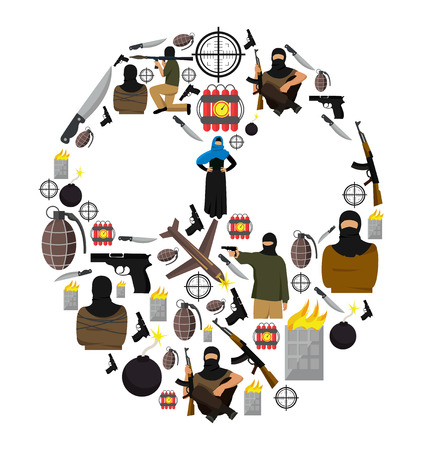 terrorists: Terrorism flat composition with colored isolated icon set collected as a terrorists mask vector illustration