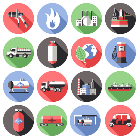 Oil Industry Colored Flat Icons Collection