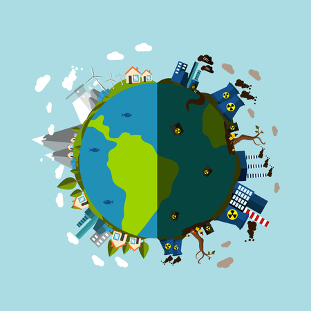 contaminated: Environmental Pollution Poster with description of planet is divided into two parts contaminated with harmful enterprises and pure green vector illustration