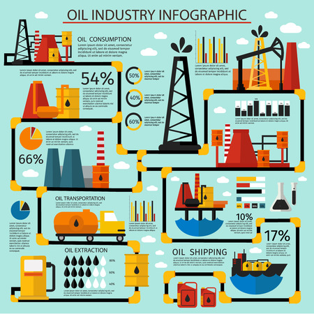 oil industry: Oil industry infographic set step by step oil production from consumption to shipping vector illustration