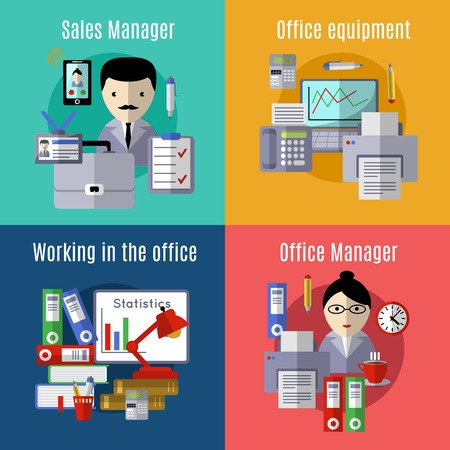sales manager: Office flat Icon set with descriptions of sales manager office equipment working in the office and office manager vector illustration