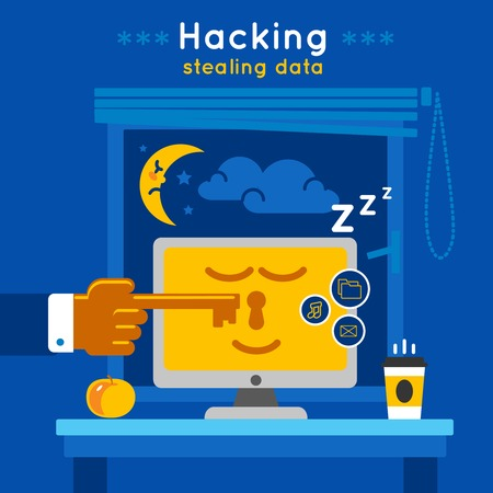 stealing data: Data protection poster with description of protected computer in a sleepy mode and title hacking stealing data vector illustration