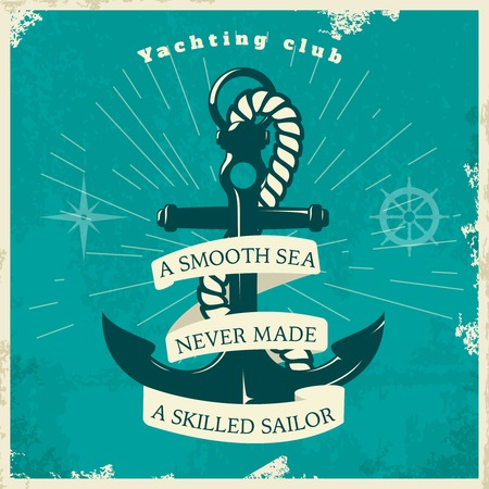 yachting: Yachting club vintage style poster with anchor rope star rays steering control on blue background vector illustration