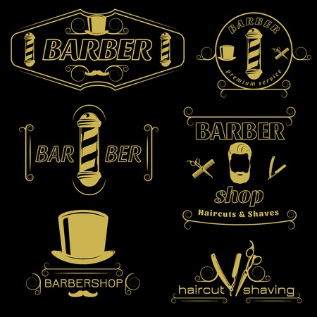 Barber service vintage style emblems with hairdresser accessories poles top hat on black background isolated vector illustration