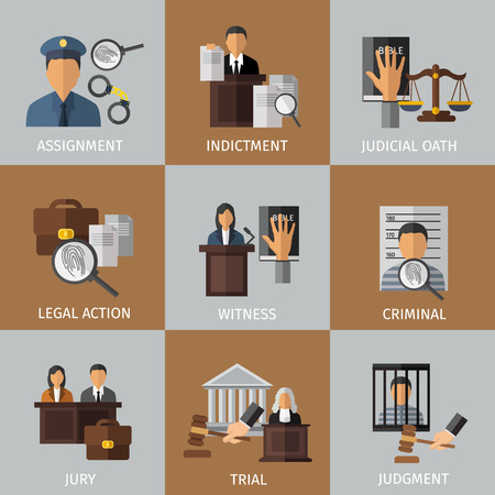 assignment: Judicial system colored icon set with descriptions of assignment indictment whitness criminal jury judgment vector illustration