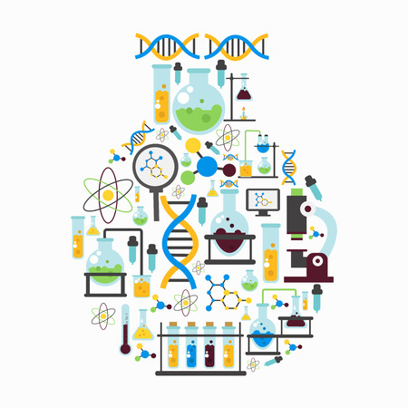 med: Chemistry lab colored flat composition with isolated colored icon set combined in flask form vector illustration