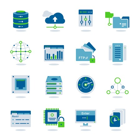 datacenter: Datacenter flat colored realistic icon set with different elements for work system vector illustration Illustration