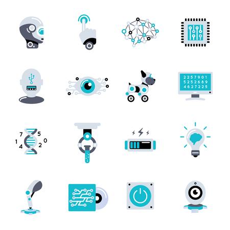 Kunstmatige intelligentie vlakke die pictogram met hulpmiddelenmateriaal en berekeningen wordt geplaatst om de robot en de schepselen te creëren gelijkend op het vectorillustratie