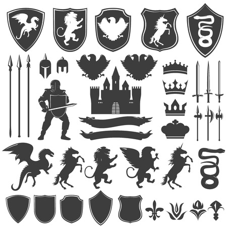 edged: Heraldry decorative graphic icons set with medieval castle edged weapon shields flowers animals crowns isolated vector illustration