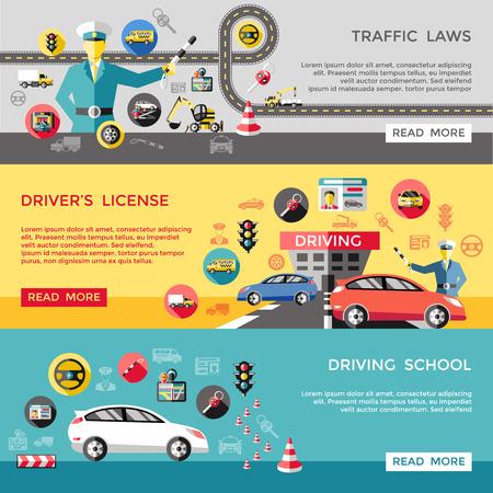 horizontale Banner Fahren mit Verkehrsregeln Lizenz Schule Polizist Straßenautos Lastwagen Stellrad Vektor-Illustration isoliert