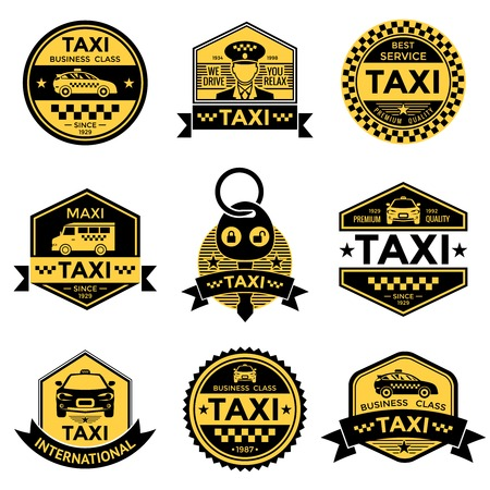 checkerboard: Taxi service black yellow emblems with driver cars minivan key stars checkerboard pattern isolated vector illustration