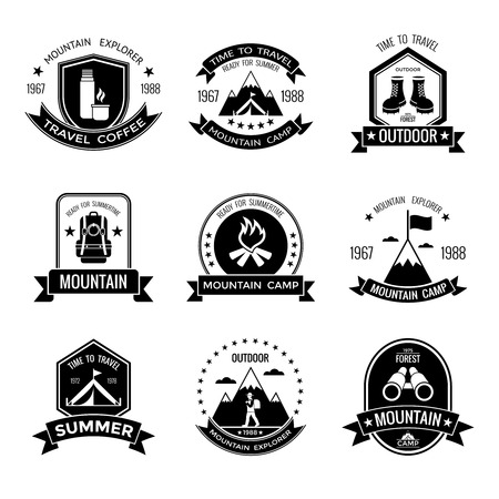 Black Camping Labels Set