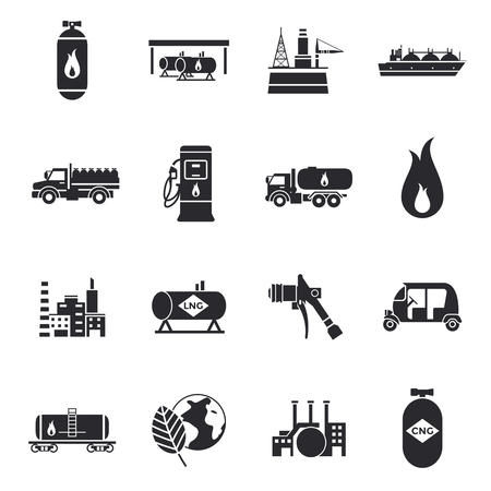 Oil Industry Icons Set Illustration