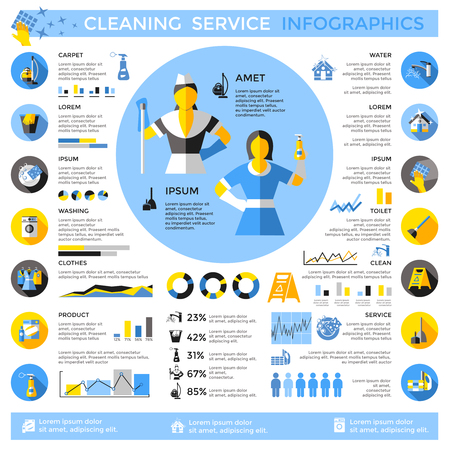 Cleaning Service Infographic Concept Иллюстрация