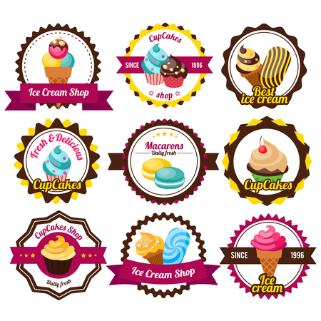 cupcakes isolated: Set labels cupcakes or sticker isolated with ribbons colorful pastries and different titles inside vector illustration Illustration