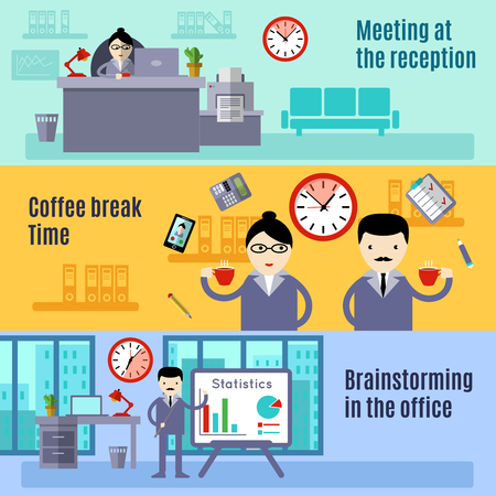 break in: Office horizontal flat banner set with titles meeting at reception coffee break time and brainstorming in the office vector illustration