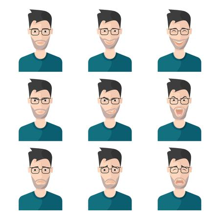 blue shirt: Facial expression man icon set man in blue shirt with different emotions on his face vector illustration Illustration
