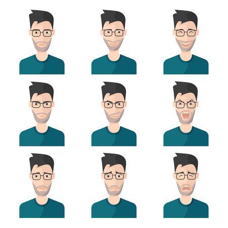 gente adulta: Facial hombre Expresión del hombre de conjunto de iconos en camisa azul con diferentes emociones en su ilustración vector de la cara