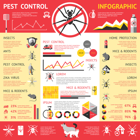 vector control illustration: Pest control infographics with insects rodents pets protective clothes means of destruction diargrams graphs statistics vector illustration Illustration