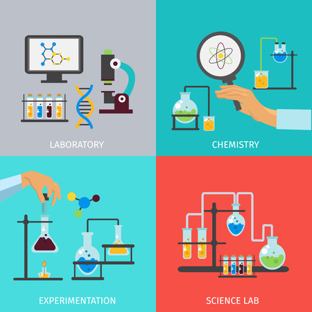 chemistry lab: Chemistry lab flat icon set with descriptions of laboratory chemistry experimentation and science lab vector illustration