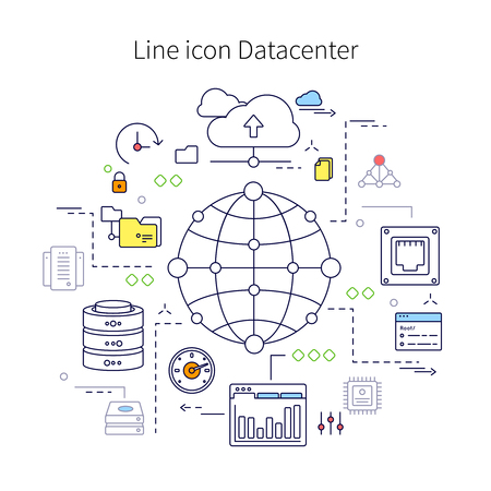 datacenter: Datacenter line illustration with description of line icon datacenter and different little icon on this theme vector illustration