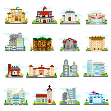 municipal: Building icons set city different buildings municipal and private isolated and colored vector illustration Illustration