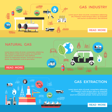 compressed gas: Gas industry horizontal banners set with extraction transportation processing storage supply use isolated vector illustration