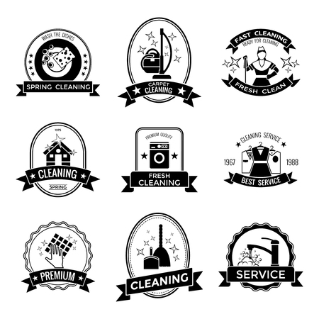 carpet cleaning service design: Cleaning service graphic emblems with broom tap machine house staff clothes rag dishes stars isolated vector illustration