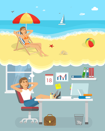woman dreaming: Dreaming about holiday poster with woman sitting on workplace and the dreams of vacation on the beach vector illustration Illustration