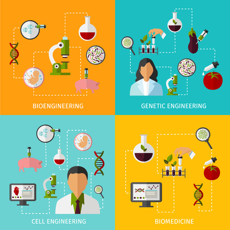 biotech: Biotechnology banners set with description of bioengineering genetic engineering cell engineering and biomedicine vector illustration