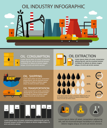 percentages: Oil industry infographic with description of oil consumption oil extraction shipping transportation and charts with percentages Illustration