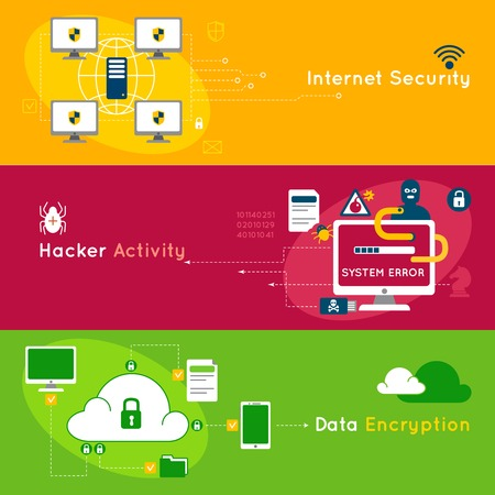 Three data protection flat banner set with headlines internet security hacker activity and data encryption vector illustration Illustration