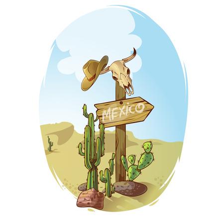 Cartel del oeste salvaje señal de dirección puntero hacia México en el desierto entre los cactus y cráneos ilustración vectorial