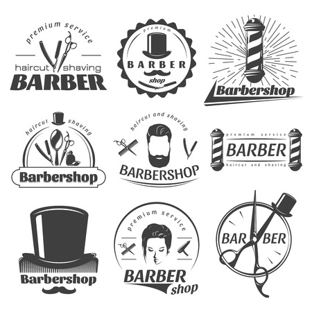 male grooming: Barbershops graphic emblems with poles hat scissors mirror mustache beard comb razor female face isolated vector illustration