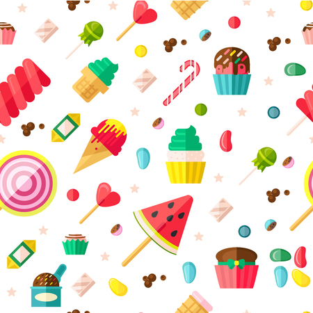 confection: Seamless background pattern with sweets fruits on sticks cupcakes candies and some different confection vector illustration Illustration