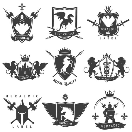 Heraldic black white labels with knight sword crown lance unicorn flower double eagle lion isolated vector illustration Stock Illustratie