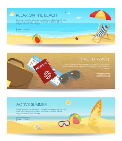 三个水平孤立的平坦的夏季横幅设置与描述放松在海滩上旅行的时间和活跃的夏季矢量插图
