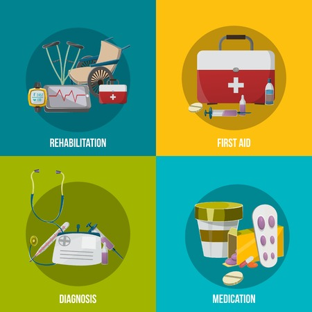 flu prevention: Health facilities icon set with descriptions of rehabilitation first aid diagnosis and medication vector illustration