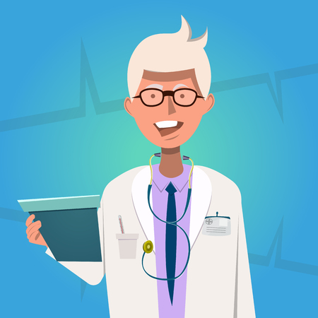 white coat: Hospital doctor poster medical worker in a white coat with stethoscope holding of x-ray picture vector illustration