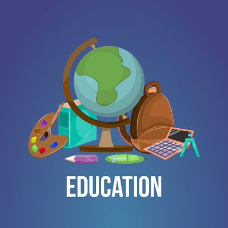 needed: Cartoon education poster or flyer tools books accessories needed to study subjects and learning in general vector illustration Illustration