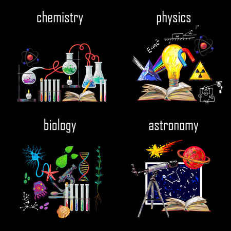 Four square science icon set with descriptions of chemistry physics biology astronomy  vector illustration