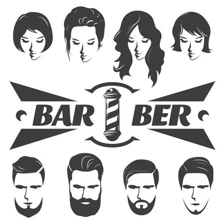 Mâle et femelle coiffures icônes graphiques avec la moustache barbe sur les hommes visages signboard isolé pôle illustration vectorielle