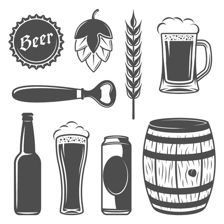 prepared: Beer Icon Set from which it is prepared and the types of beer flat isolated vector illustration Illustration