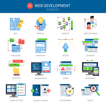 scenarios: Sixteen web development icon set with descriptions of idea creative concept user scenarios structure prototype designs and different vector illustration