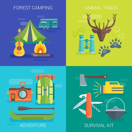 survival: Tourist camping flat compositions with living in forest animal track summer adventure survival kit isolated vector illustration