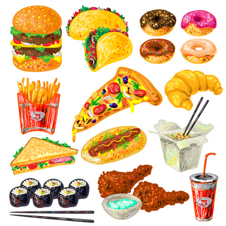contributing: Fast food icon set with not helpful contributing to obesity food and drink vector illustration